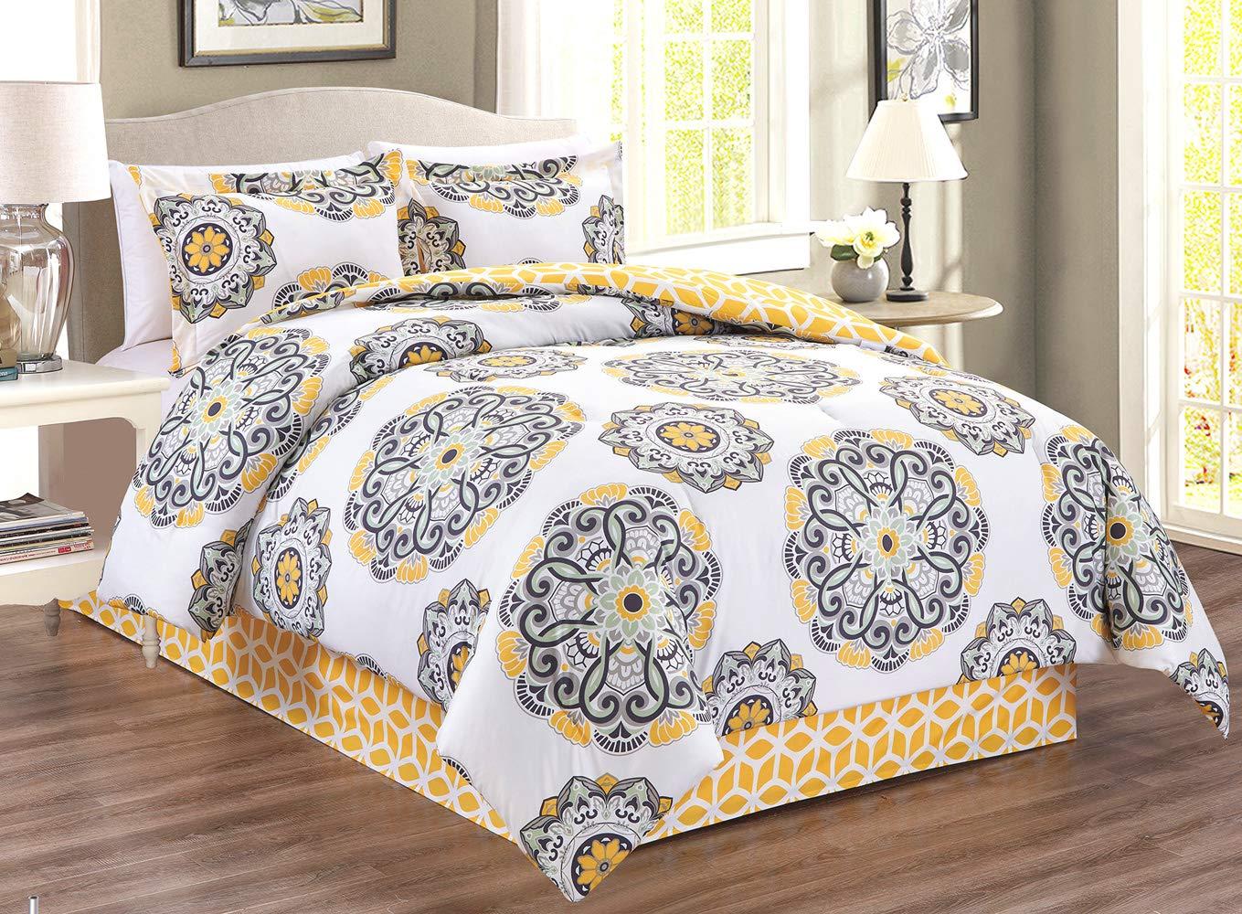 GrandLinen 4-Piece Queen Size Fine Printed Comforter Set Reversible Goose Down Alternative Bedding (Yellow, White, Black, Grey Scroll