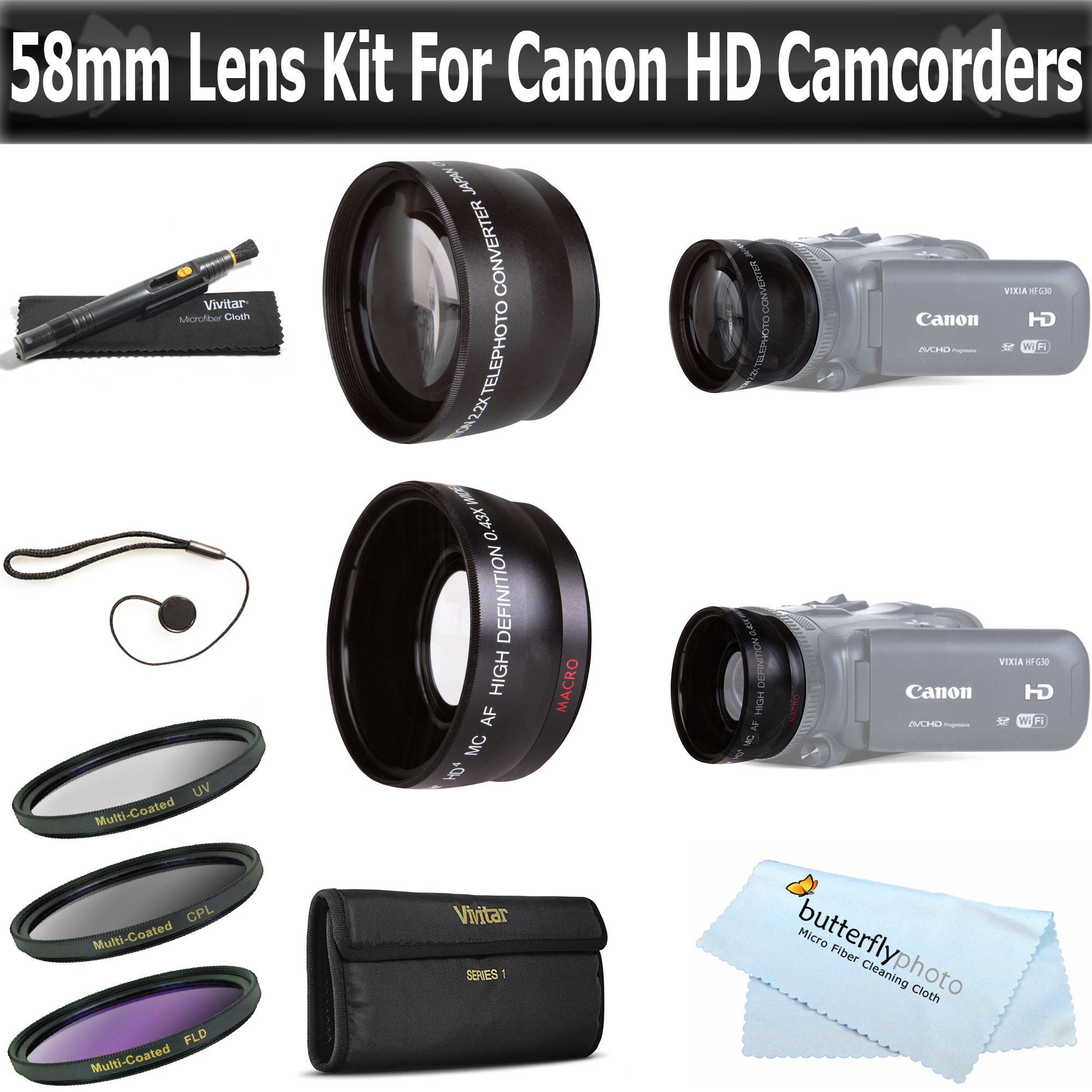 ButterflyPhoto 58mm 2x Telephoto and .45x Wide Angle Lens Kit + (3) Filters (UV-CPL-FLD) Accessories Kit For Canon VIXIA HF S21, HF S20, HF S200, HF S30 Dual Flash Memory Camcorder by ButterflyPhoto