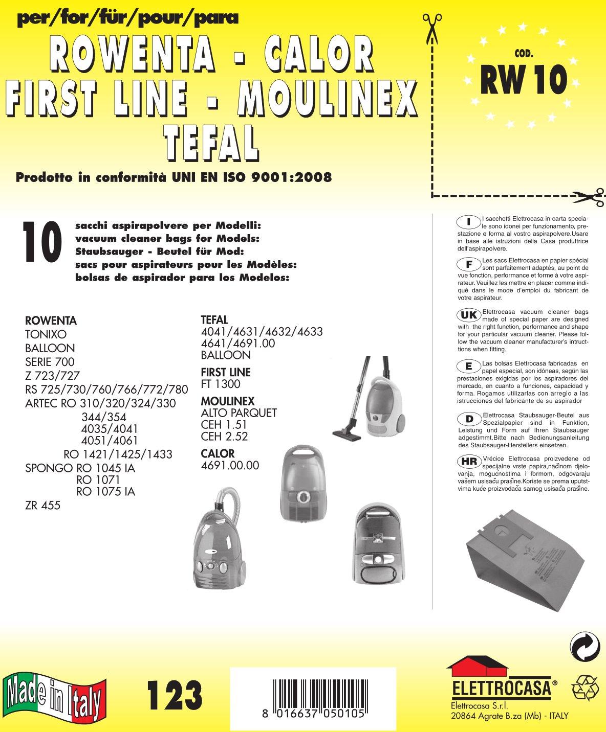 Acquisto RW 10 sacchetti per aspirapolvere confezione da 10 sacchi carta Prezzo offerta