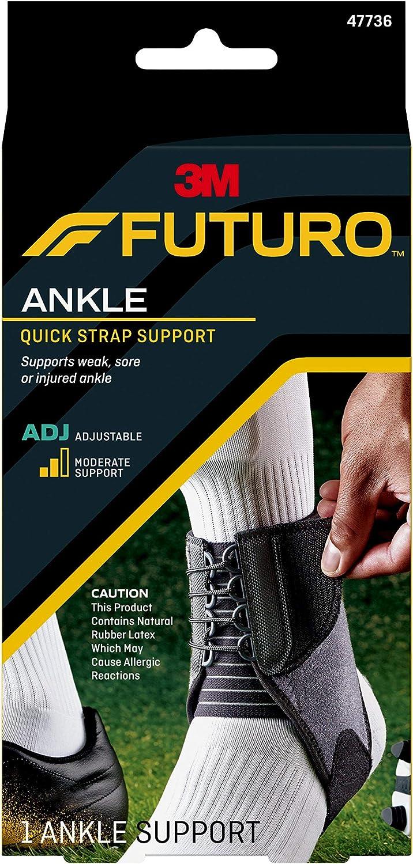 Futuro Futuro Quick Strap Ankle Support, One Size, Black, Adjustable
