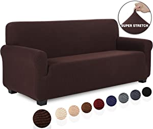TIANSHU Stretch Jacquard Couch Cover, 1-Piece Couch Cover for Sofa, 3 Cushion Sofa Slipcover for Living Room, Soft/Durable/Stay in Place Furniture Covers (Sofa, Chocolate)