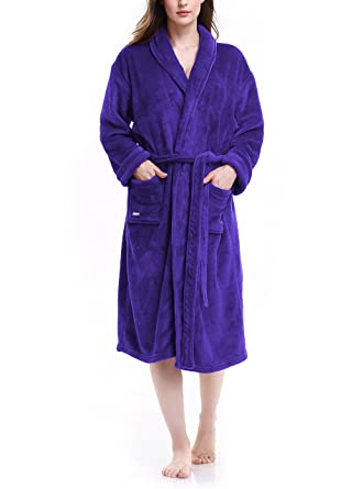1d6face79a David Archy Women s Micro Fleece Robe Shawl Collar Bathrobe Dressing Gown  (S M