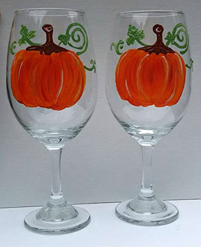 Festive Orange Pumpkin Hand Painted Stemmed 20-oz Wine Glasses (Set of 2)