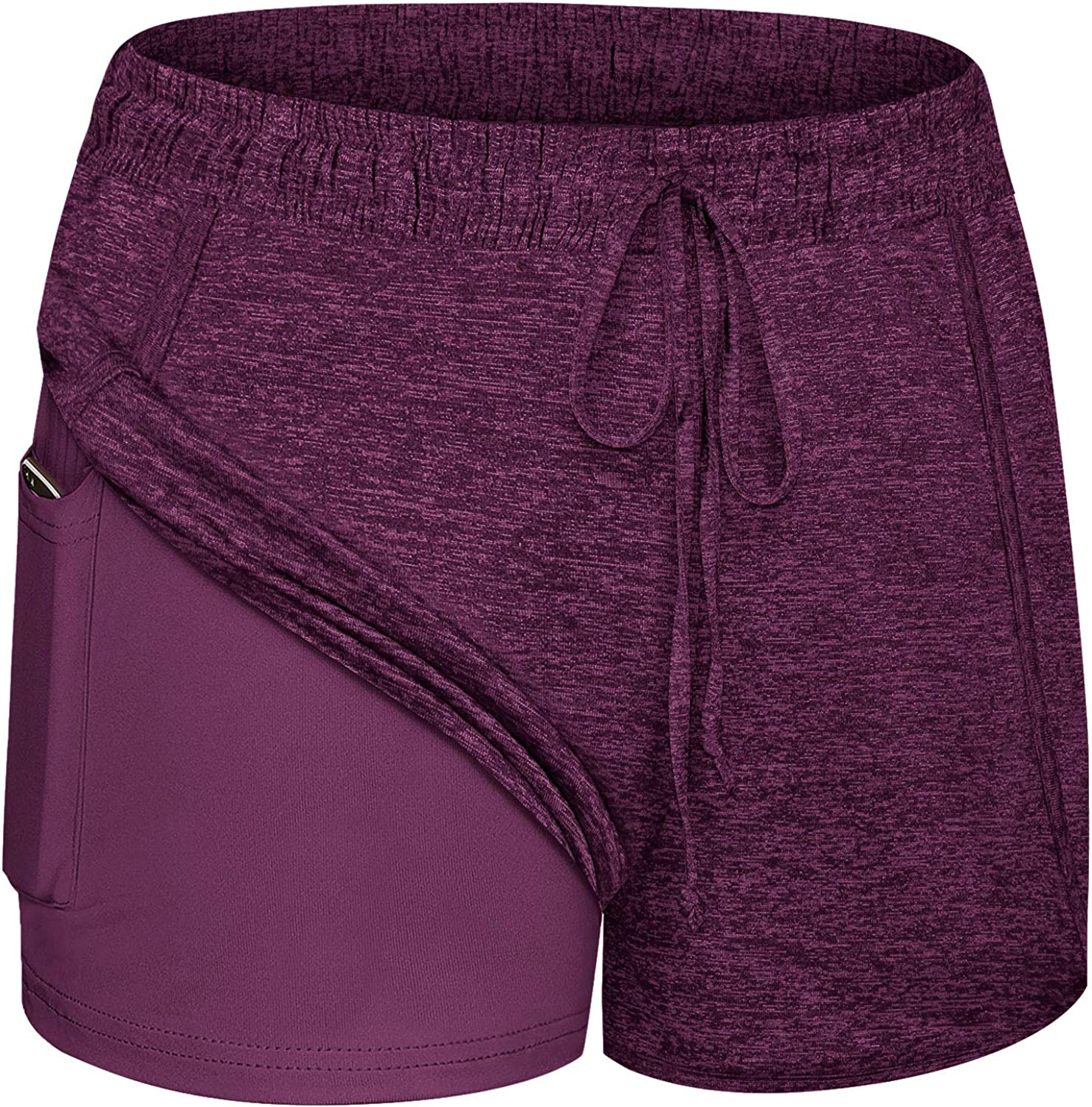 Blevonh Women Yoga Running Shorts 2 in 1 Workout Athletic Shorts with Pockets S-3XL: Clothing