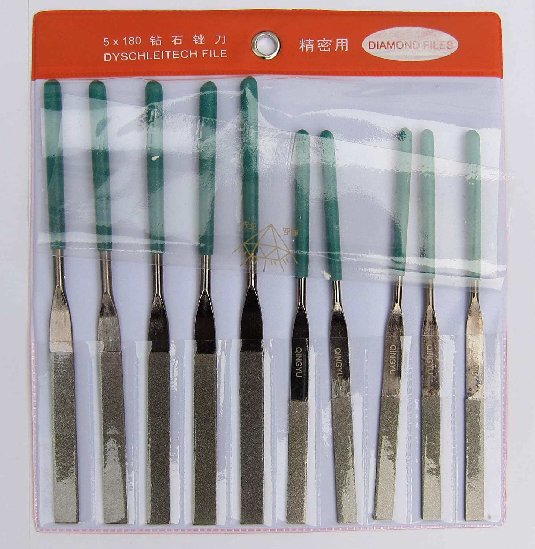 Lime /à aiguilles en nickel noir 17,8 cm plate rev/êtement en nickel noir moyenne grain 120 pour limes /à aiguilles diamant 17,8 cm 16,3 cm 16,3 cm