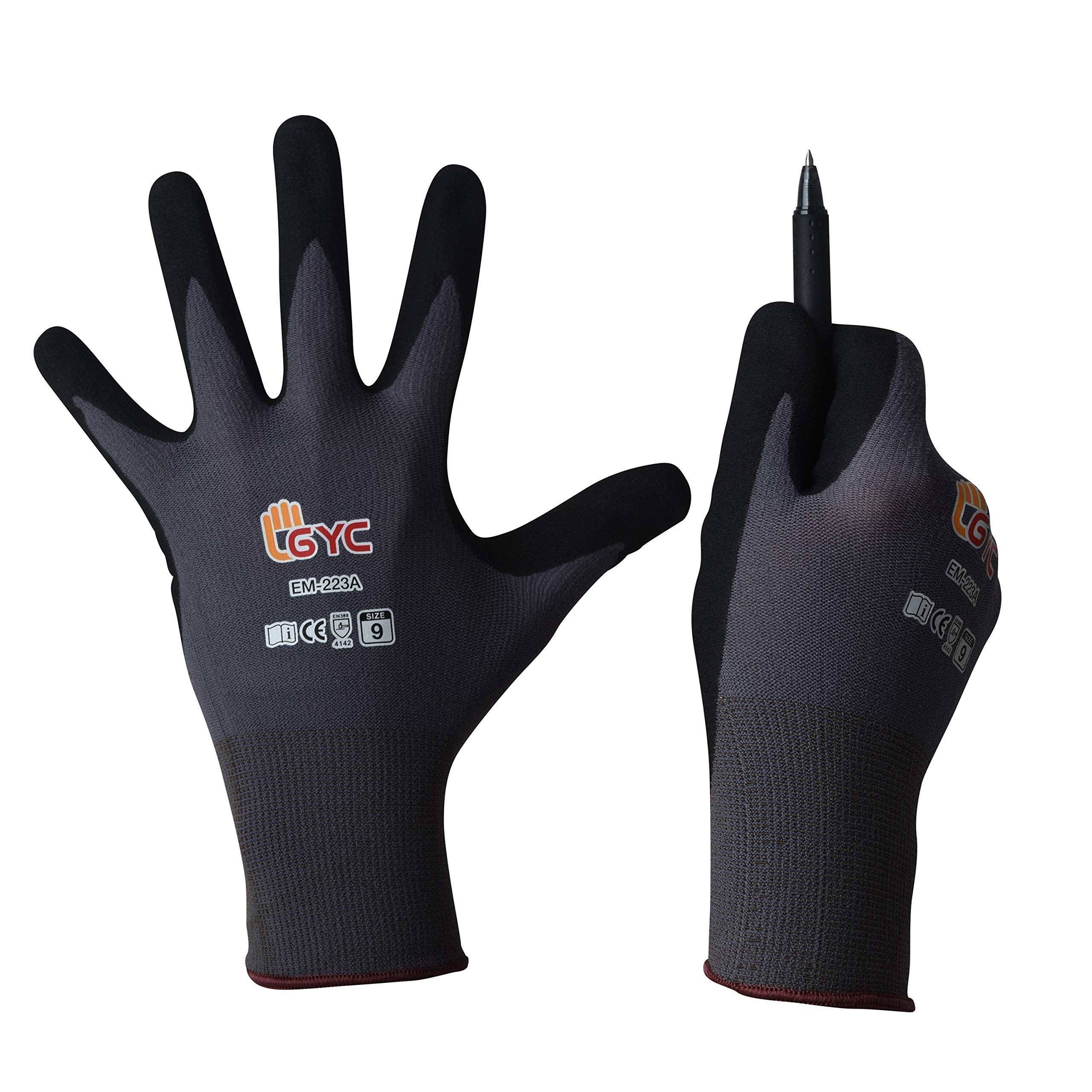 GYC Gloves, DIY Gardening, Food Grade ECO PU Coated Safety Work Gloves - 10 Pairs Pack - General Work Glove, Comfortable Grip, Anti-Slip (EM-223A / SIZE 8 - Medium, 10 Pairs) by SHINSUNG MAJOR GLOVE