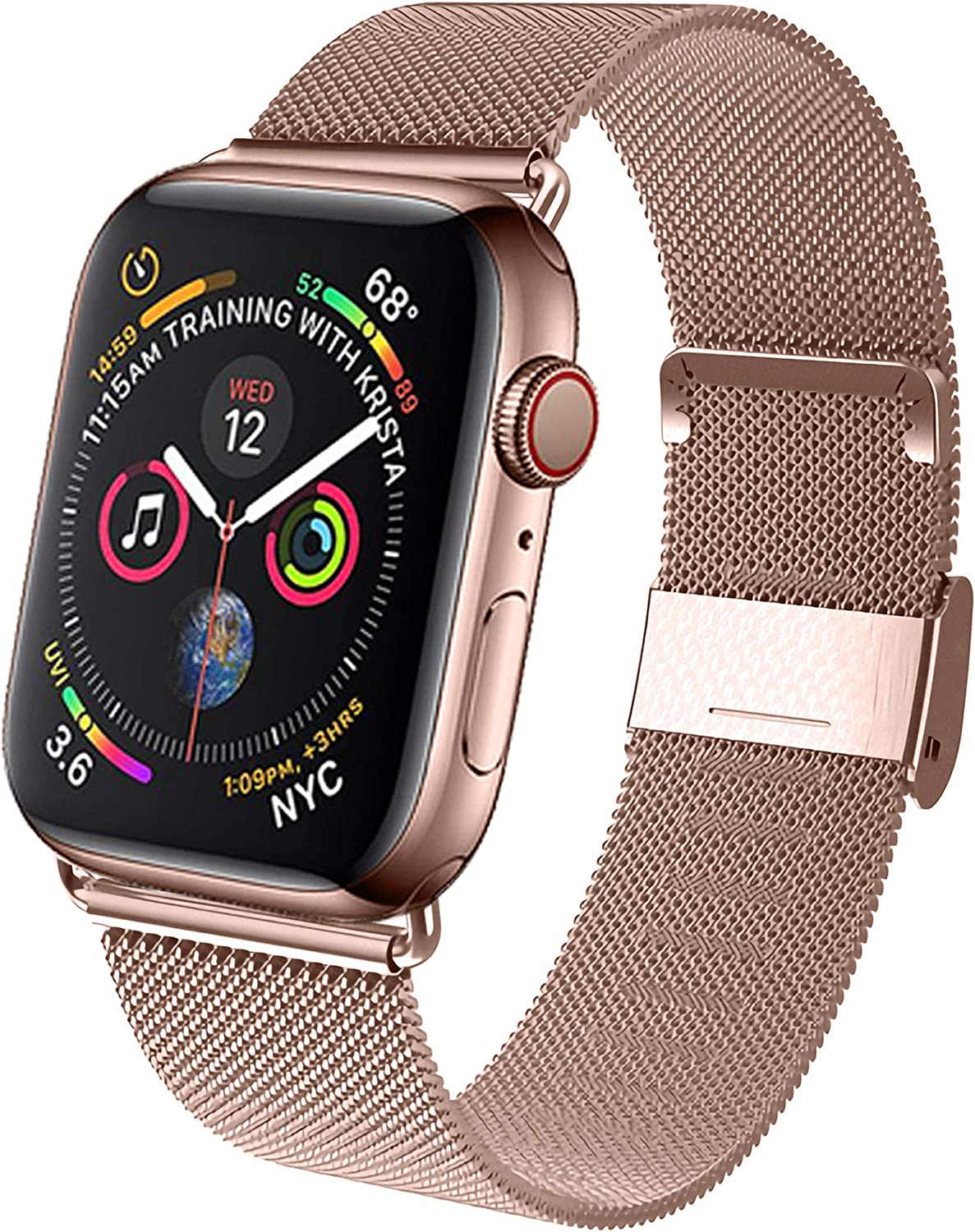 GBPOOT Band Compatible with Apple Watch Band 38mm 40mm 42mm 44mm, Wristband Loop Replacement Band for Iwatch Series 6/SE/5/4/3/2/1,PinkGold,38mm/40mm