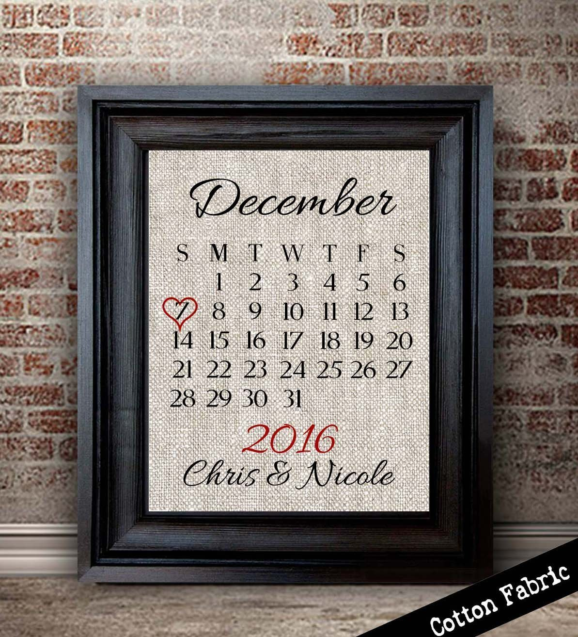 Personalized Cotton Anniversary Gift For Her | Cotton Calendar Print | Gift for Wife | 2nd Wedding Anniversary | 2 Year Anniversary Gift for Husband