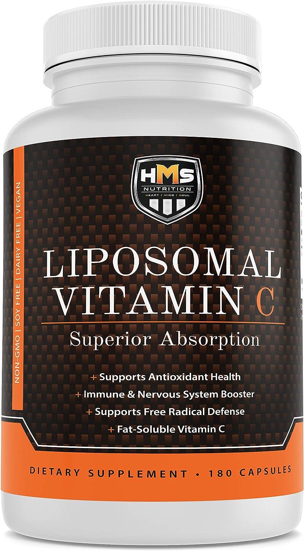 HMS Nutrition Premium 1600mg Liposomal Vitamin C - Fat Soluble - Non-GMO - Soy, Dairy, Gluten Free - 180 Capsules