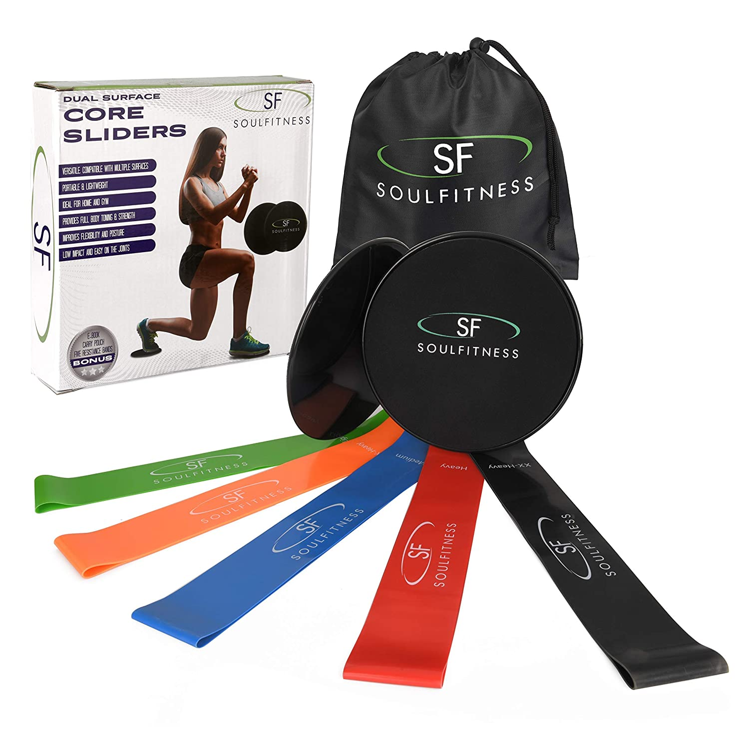 SoulFitness Resistance Bands Core Sliders - Exercise Loops for Physical Therapy - Dual Sided Gliding Discs - Home Workout Booty Bands - Perfect for 80 Day ...