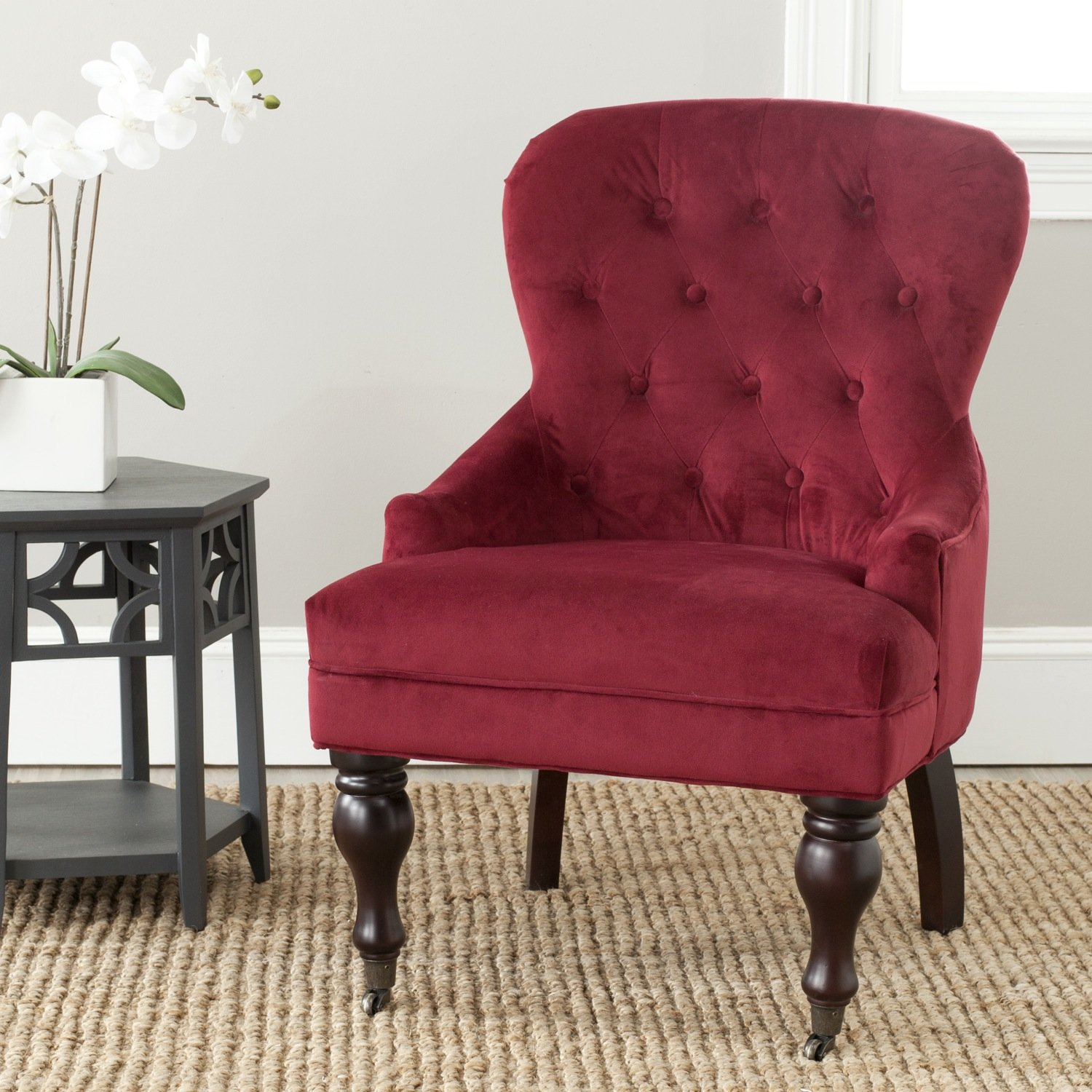 Amazon Safavieh Mercer Collection Falcon Arm Chair Red
