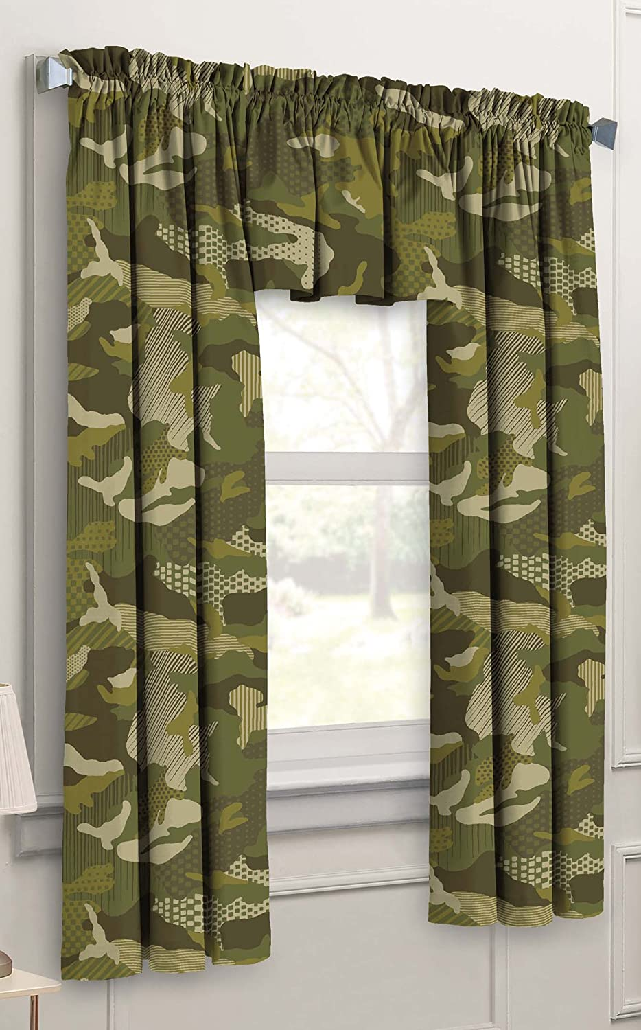 Dream Factory Geo Camo 3-Piece Camouflage Kids Bedroom Curtain Panel Set, Green
