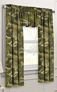 Dream Factory Geo Camo 3-Piece Camouflage Kids Bedroom Curtain Panel Set, Green, 63-Inch