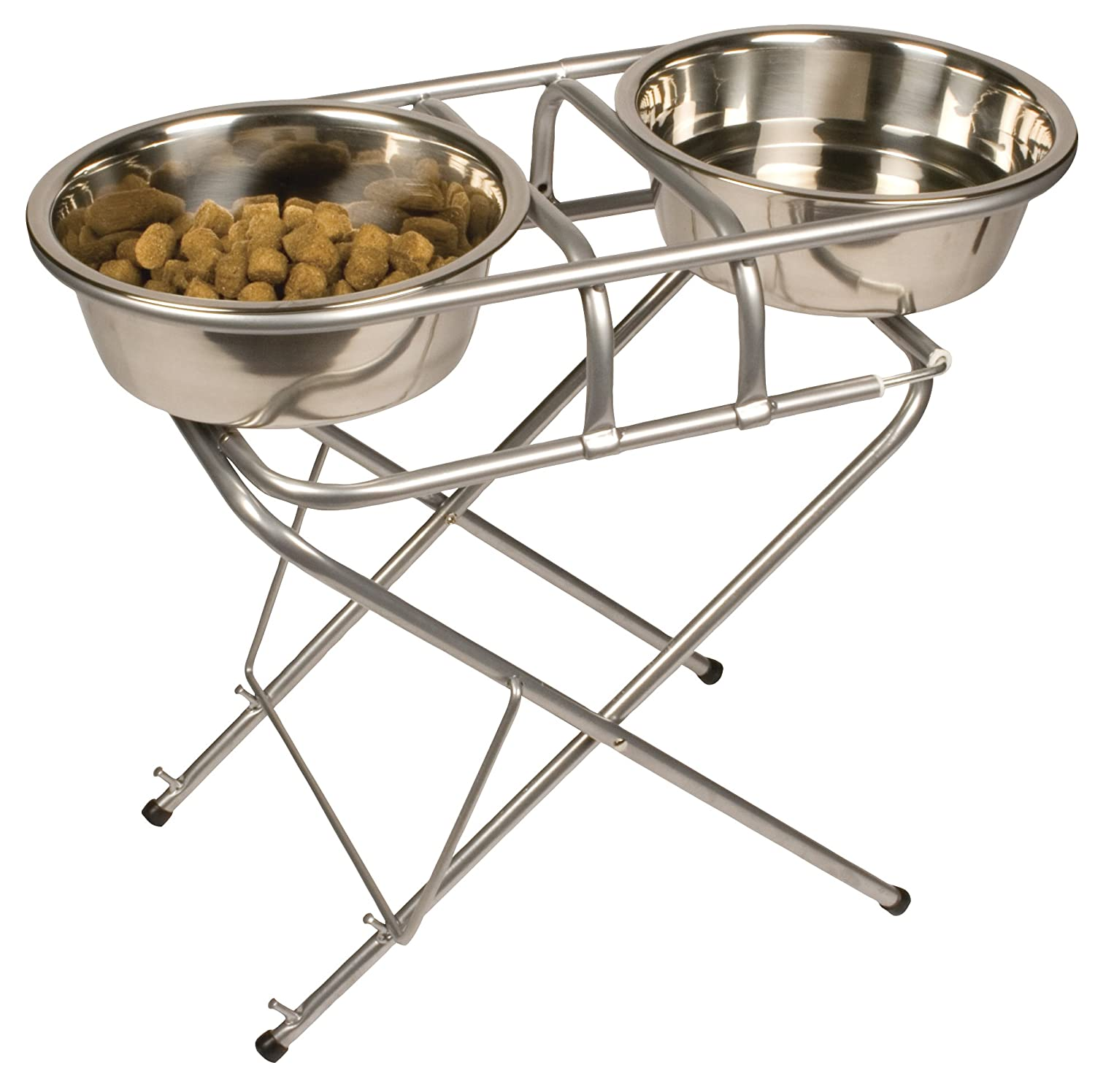 Jack and Dixie Stainless Steel Adjustable Elevated Dog Bowl and Stand Set