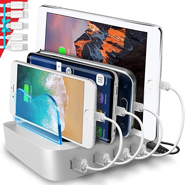 Poweroni USB Charging Station Dock - 4-Port - Fast Charge Docking Station for Multiple Devices - Multi Device Charger Organizer - Compatible with Apple iPad iPhone and Android Cell Phone and Tablet
