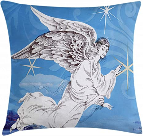 Amazon Com Ambesonne Angel Wings Throw Pillow Cushion Cover Angel Virgo Flying Above Merry Christmas Stars Mystic Print Decorative Square Accent Pillow Case 16 X 16 Blue Coconut Home Kitchen