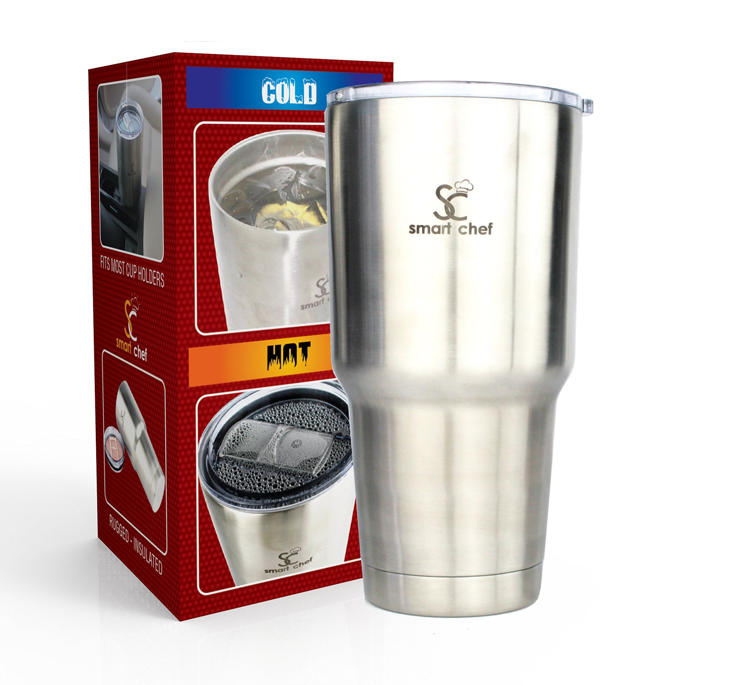 Stainless Steel Insulated Vacuum Tumbler 30 Oz - Enjoy Piping Hot Coffee All Day! Advanced Vacuum Keeps Constant Temp for Hours - Great for Cold Drinks - Fits Most Cup Holders - Stylish & Durable