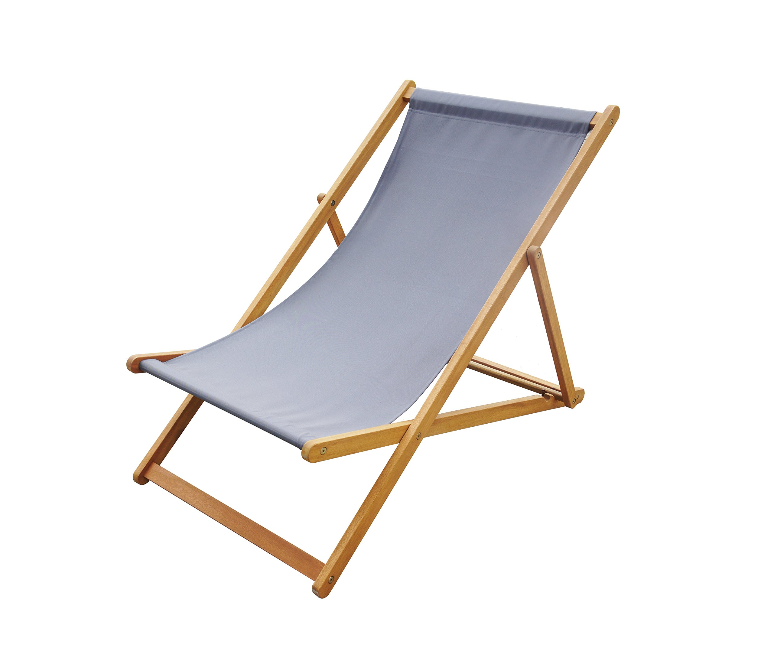 Amayo Home Solid Eucalyptus Wood Foldable Sling Chair Garden Seating, Hold 250lbs, Grey Canvas, Adjustable with 3 Reclining Positions. No Assembly. Comfortably Relax Chair in Garden Porch Pool by by Amayo Home (Image #3)