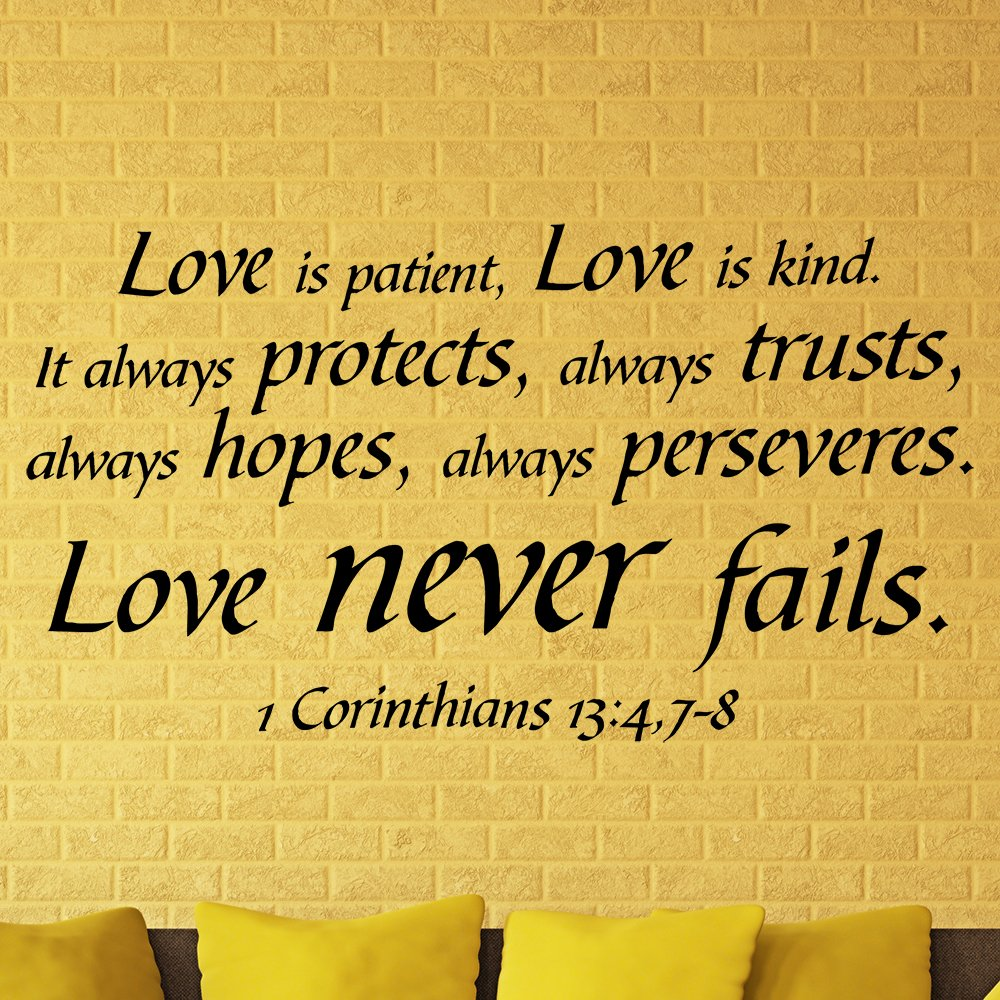 Amazon.com: Bible Verse Wall Decals Love is Patient Love Never Fails ...