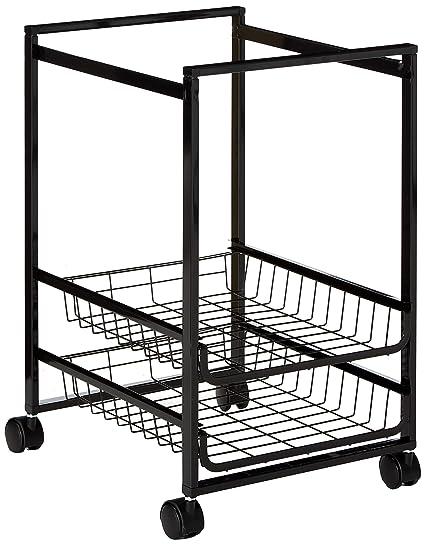 7f232025d2a9 Advantus Mobile File Cart with 2 Sliding Baskets- Letter Size Suspension  File, Black (34075)