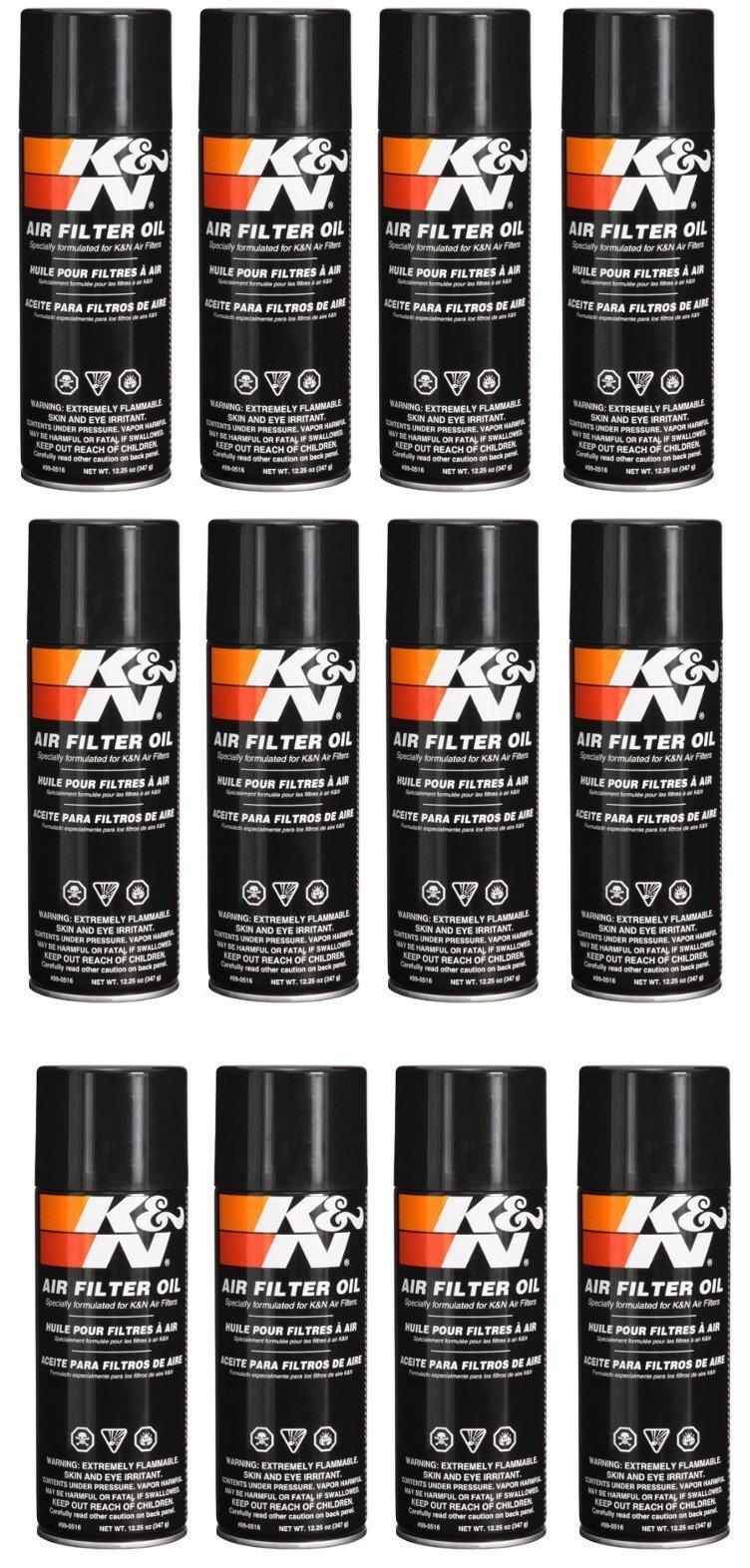 K&N 99-0516 Air Filter Oil - 12.25 oz. - Aerosol (12.25 Ounce - 12 Pack)