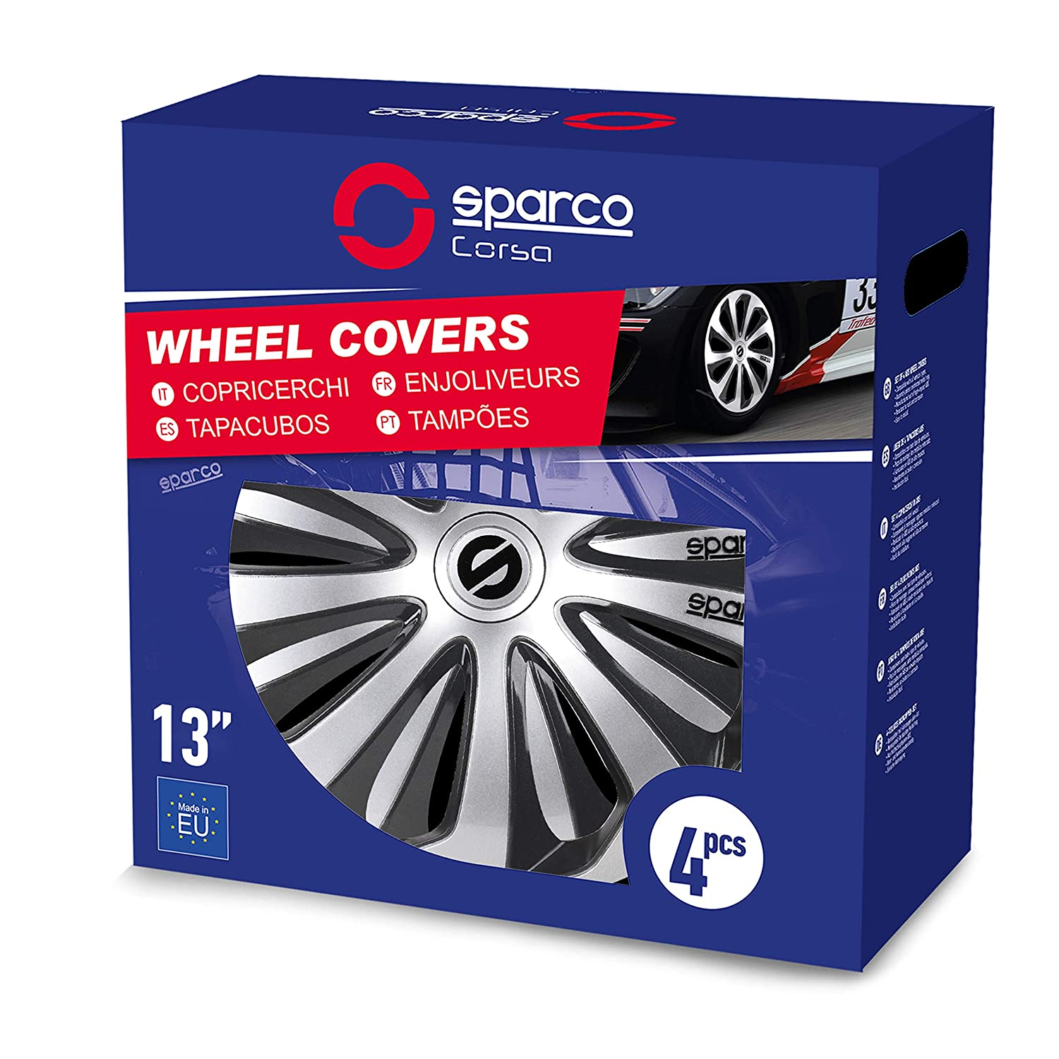 Amazon.com: Sparco SPC1373SVGR Sicilia Wheel Covers, Silver/Grey, Set of 4, 13