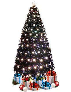 UK G 6ft Traditional Green Pre Decorated Fibre Optic Artificial  - Fibre Optic Christmas Tree Uk Only