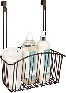 Takyl Home Large Contempo Wire Basket for Bathroom Storage, Convenient Over the Cabinet Design for Hair Products, Candles, Beauty Essentials, Makeup & More, Bronze