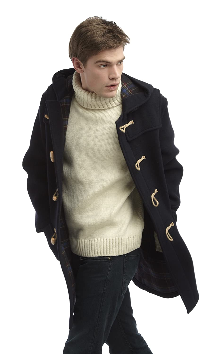 Mens Long Duffle Coat Wooden Toggle Navy, 3-Woods - Amazon Canada