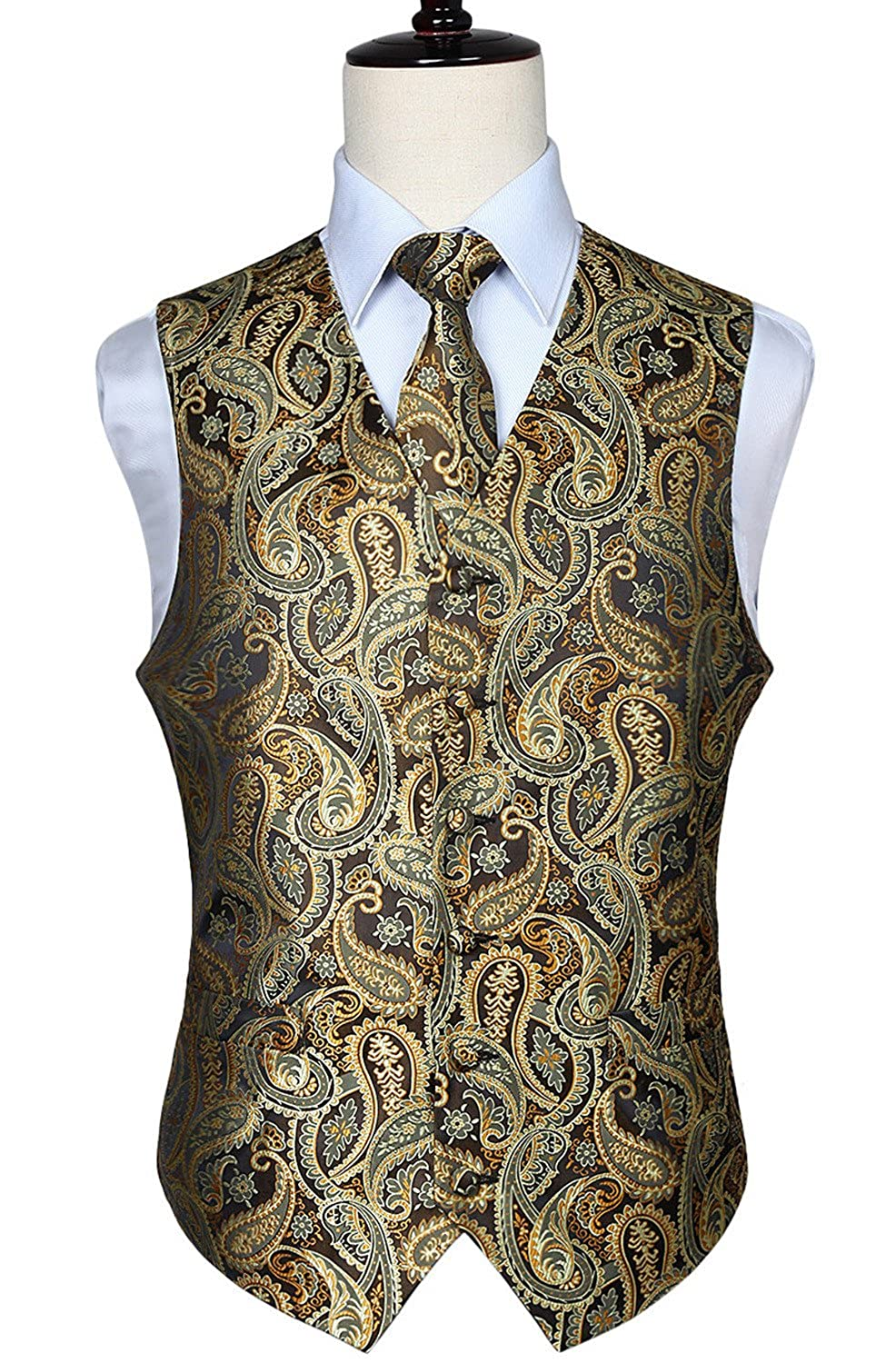HISDERN Mens Classic Paisley Floral Jacquard Waistcoat & Necktie and Pocket Square