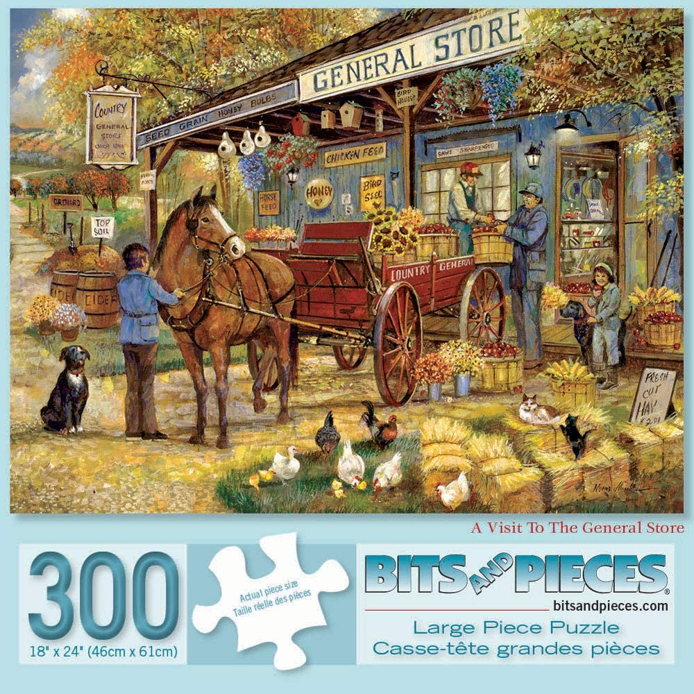 300 Piece Jigsaw Puzzle for Adults 18 x 24 Bits and Pieces A Visit to The General Store 300 pc Classic Farmer Jigsaw by Artist Ruane Manning