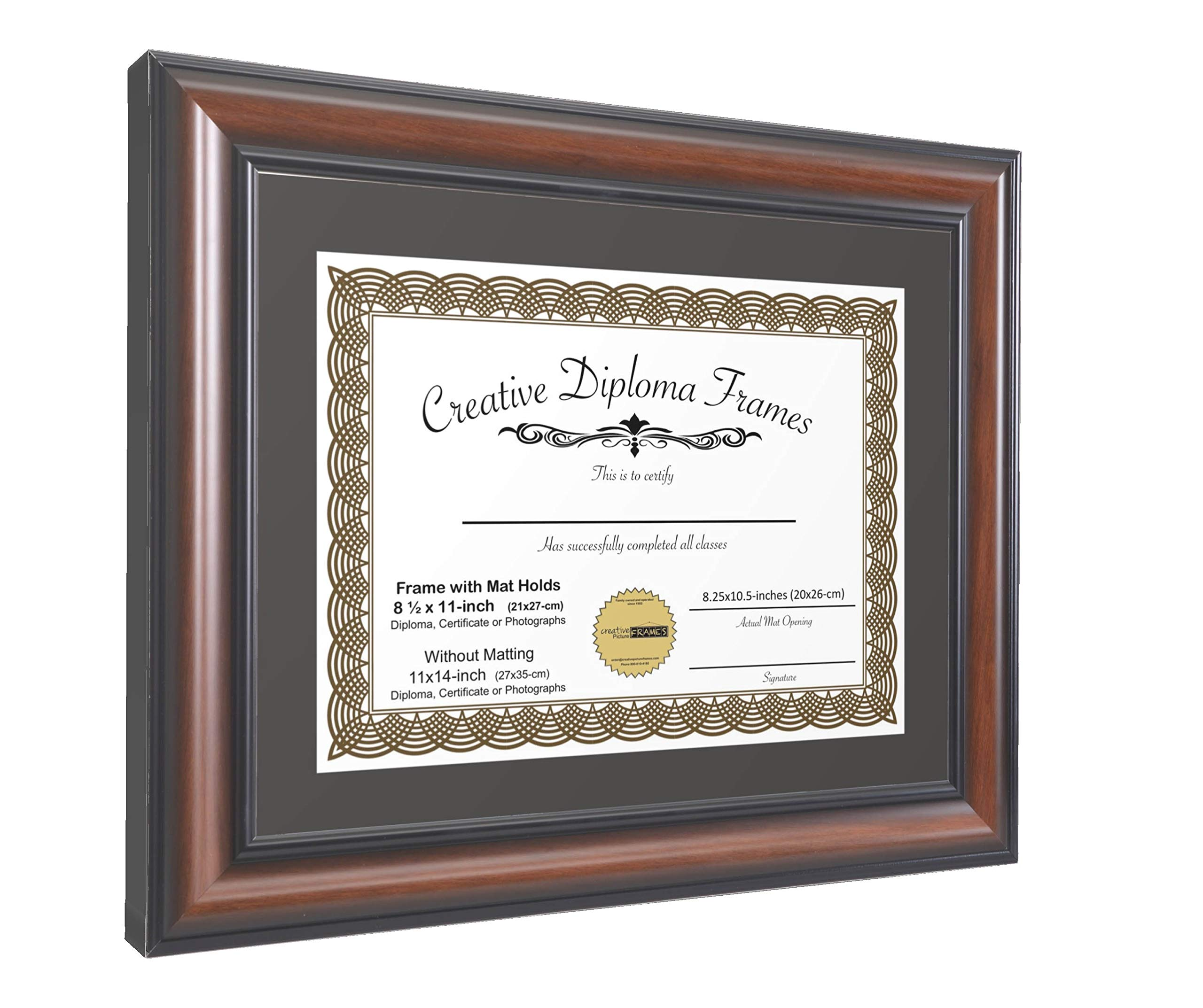 CreativePF [wal5171-b] Eco-Walnut Collection 11x14-inch Wood Finish Picture Frame with Black/White Core Matting Holds 8.5x11-inch Media, with Installed Hangers for Either Orientation by Creative Picture Frames (Image #2)