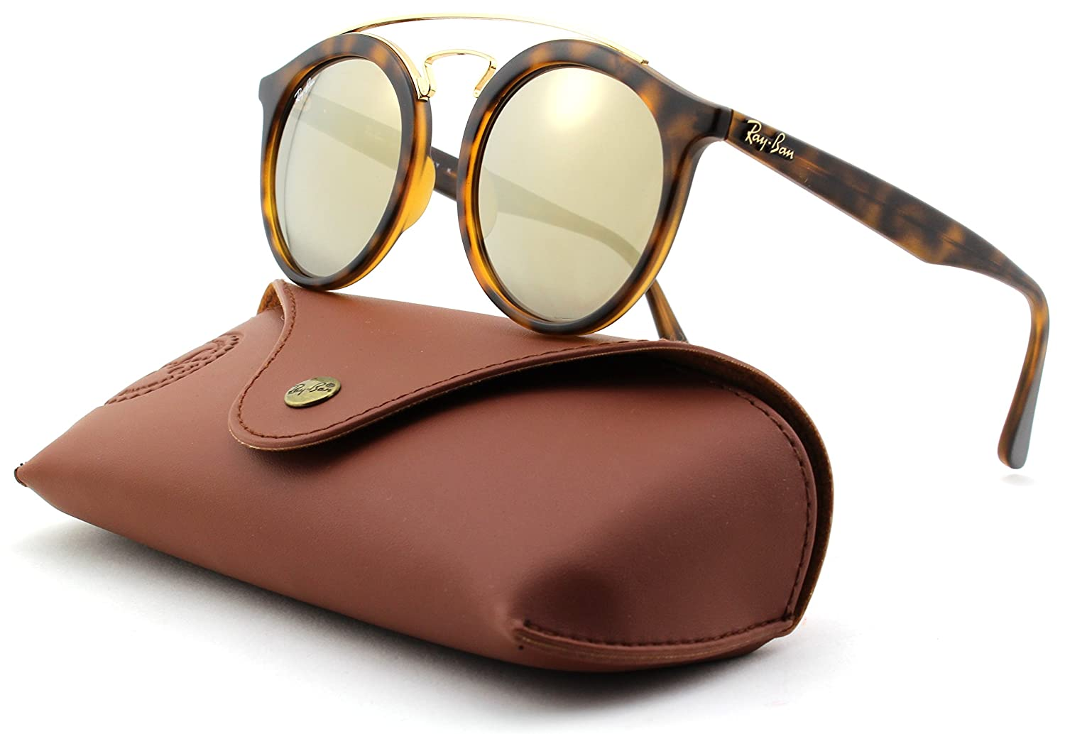 758a0fd698f ... lens e9ef4 888ac coupon amazon ray ban rb4256 gatsby mirror round  sunglasses matte havana frame light brown mirror gold ...
