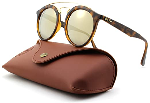 eb7087f8f765a Ray-Ban RB4256 GATSBY Mirror Round Sunglasses (Matte Havana Frame Light  Brown Mirror