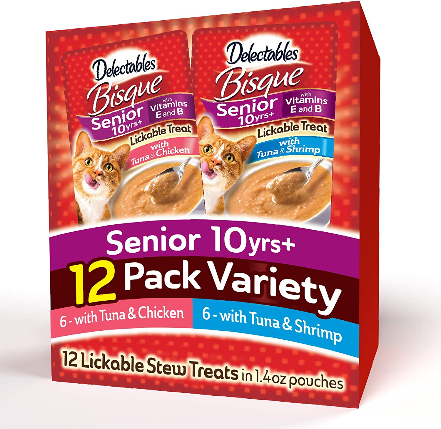 Delectables Bisque Senior Variety Pack Lickable Cat Treats, 12 Count