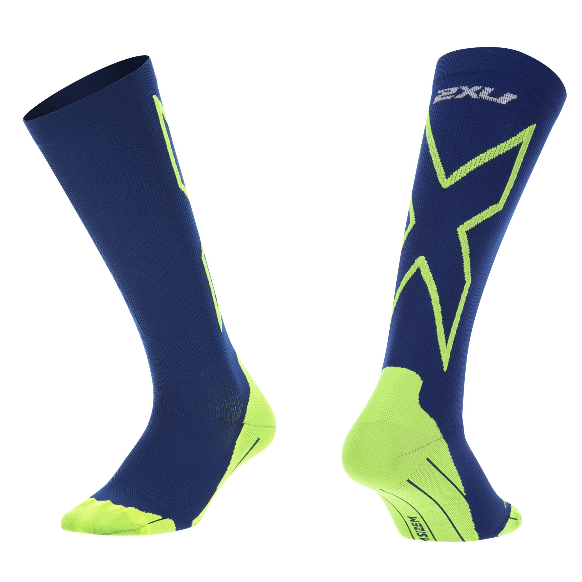 2XU Men's Compression performance X Socks, Navy/Fluoro Green, Small