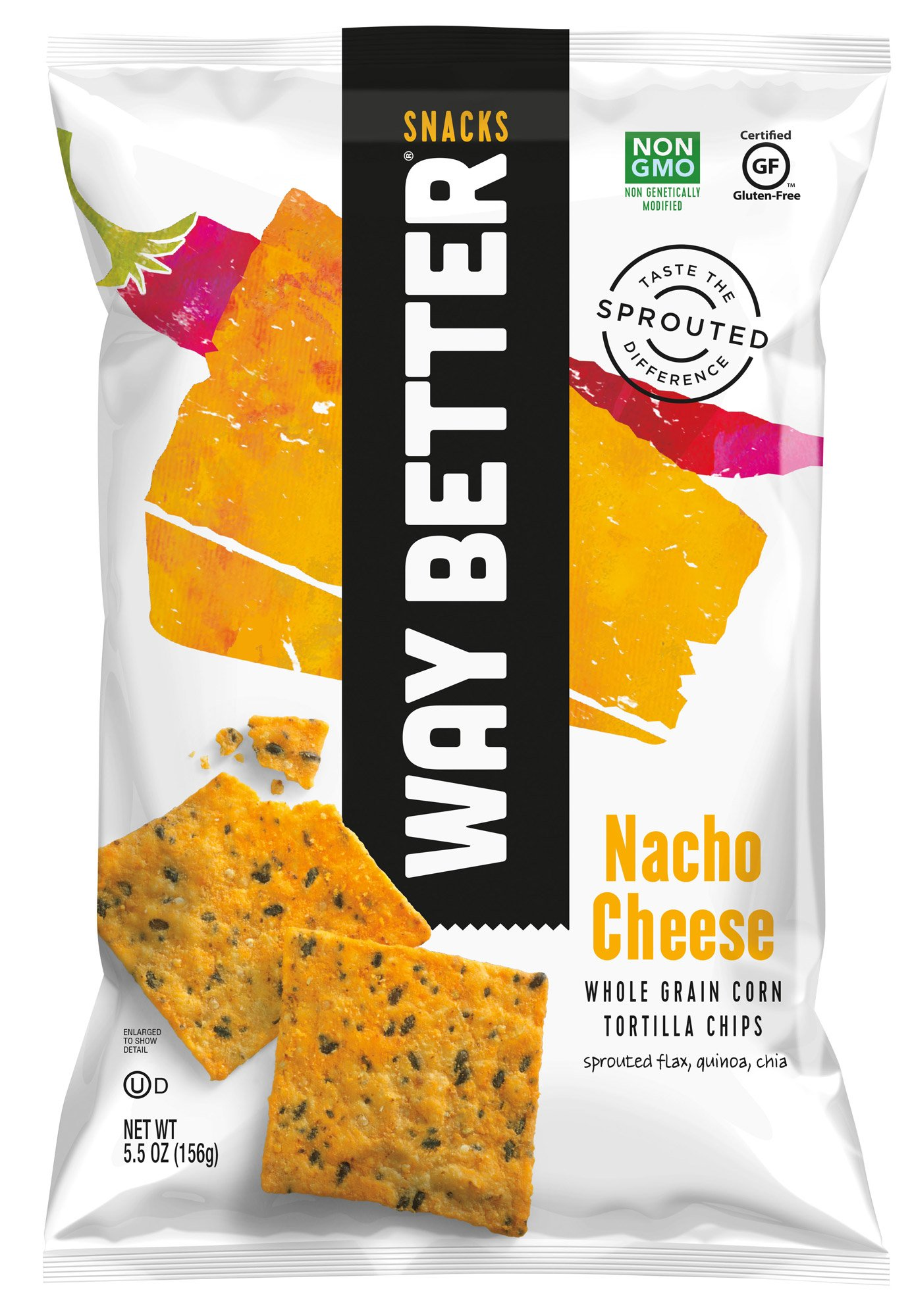 Way Better Snacks Sprouted Gluten Free Tortilla Chips, Nacho Cheese, 12 Count by Way Better Snacks
