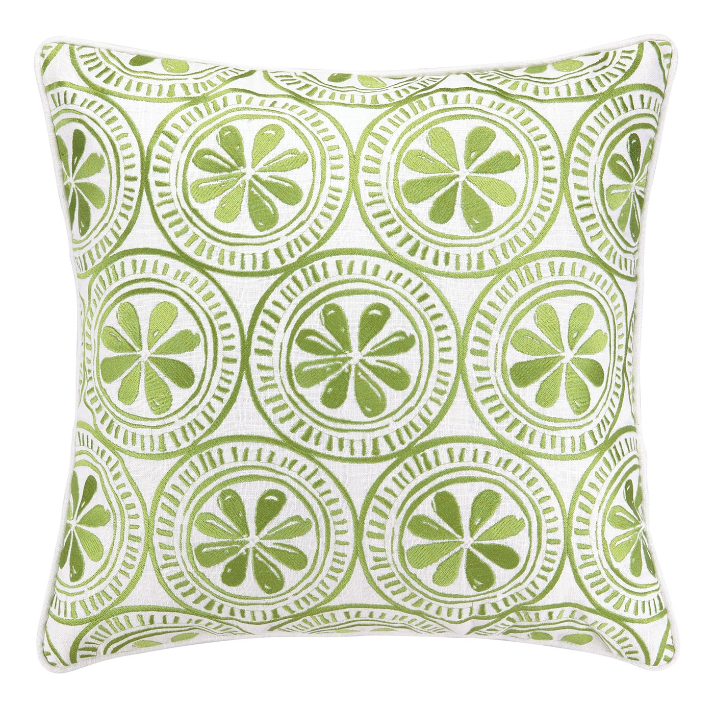 Kate Nelligan Sand Dollar Embroidered Linen Pillow 20 by 20-Inch Green