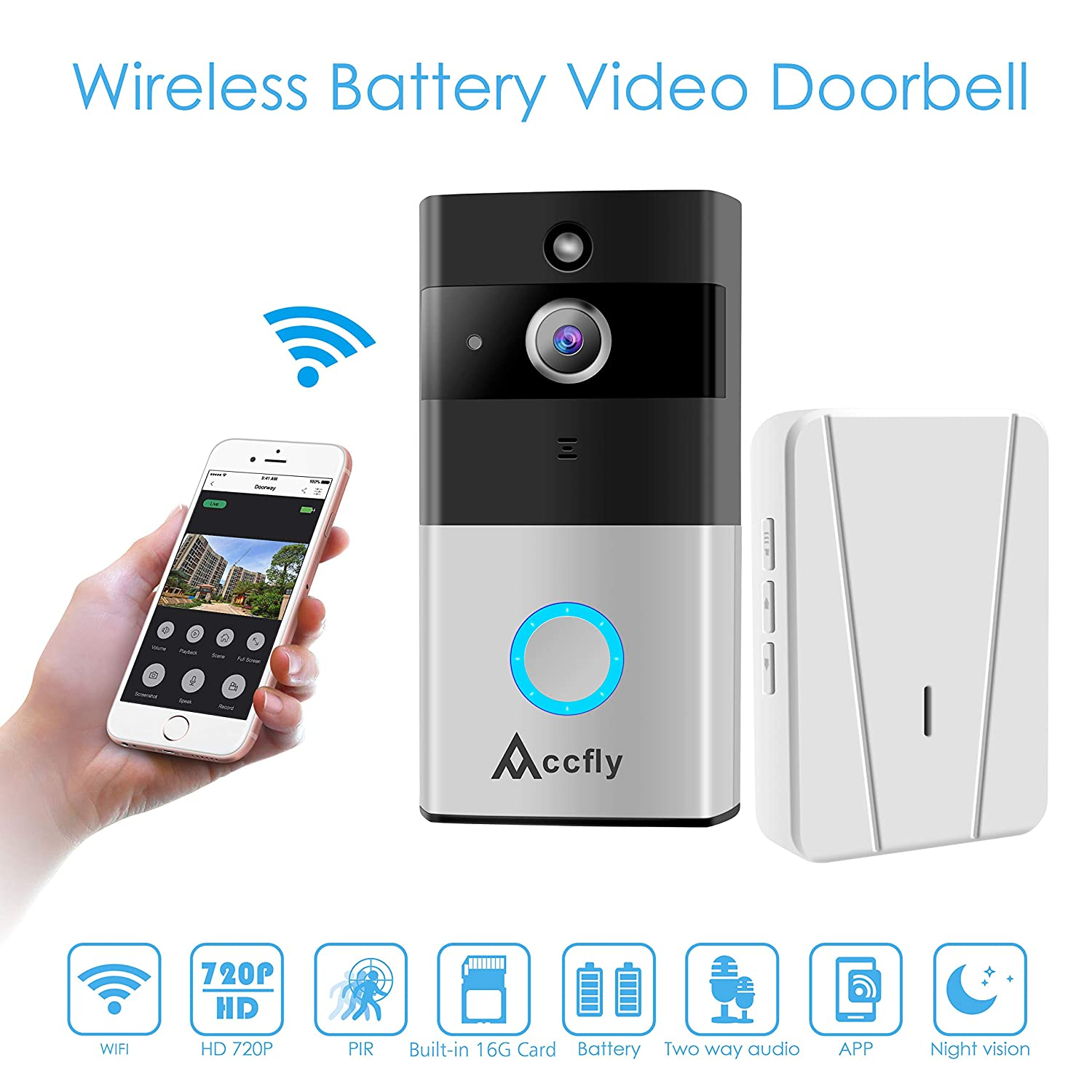 Video Doorbell, Accfly 720P HD WIFI Security Camera: Amazon.co.uk: Camera &  Photo