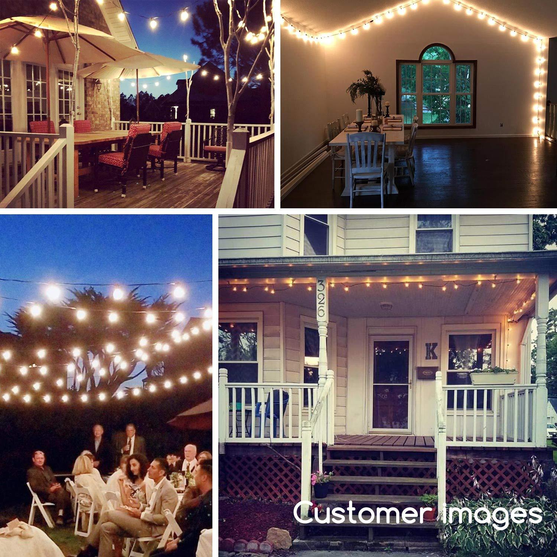 Black 50Ft Outdoor Patio String Lights with 50 Clear Globe G40 Bulbs,UL Certified for Patio Porch Backyard Deck Bistro Gazebos Pergolas Balcony Wedding Gathering Parties Markets Decor