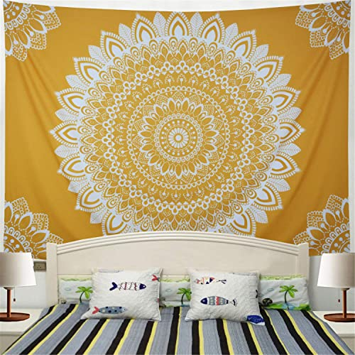 Racunbula Mandala Tpaestry Yellow Bohemian Tapestry Psychedelic Hippie Flower Tapestry Wall Hanging for Living Room Bedroom H51.2 W59.1inches X-Large, Yellow