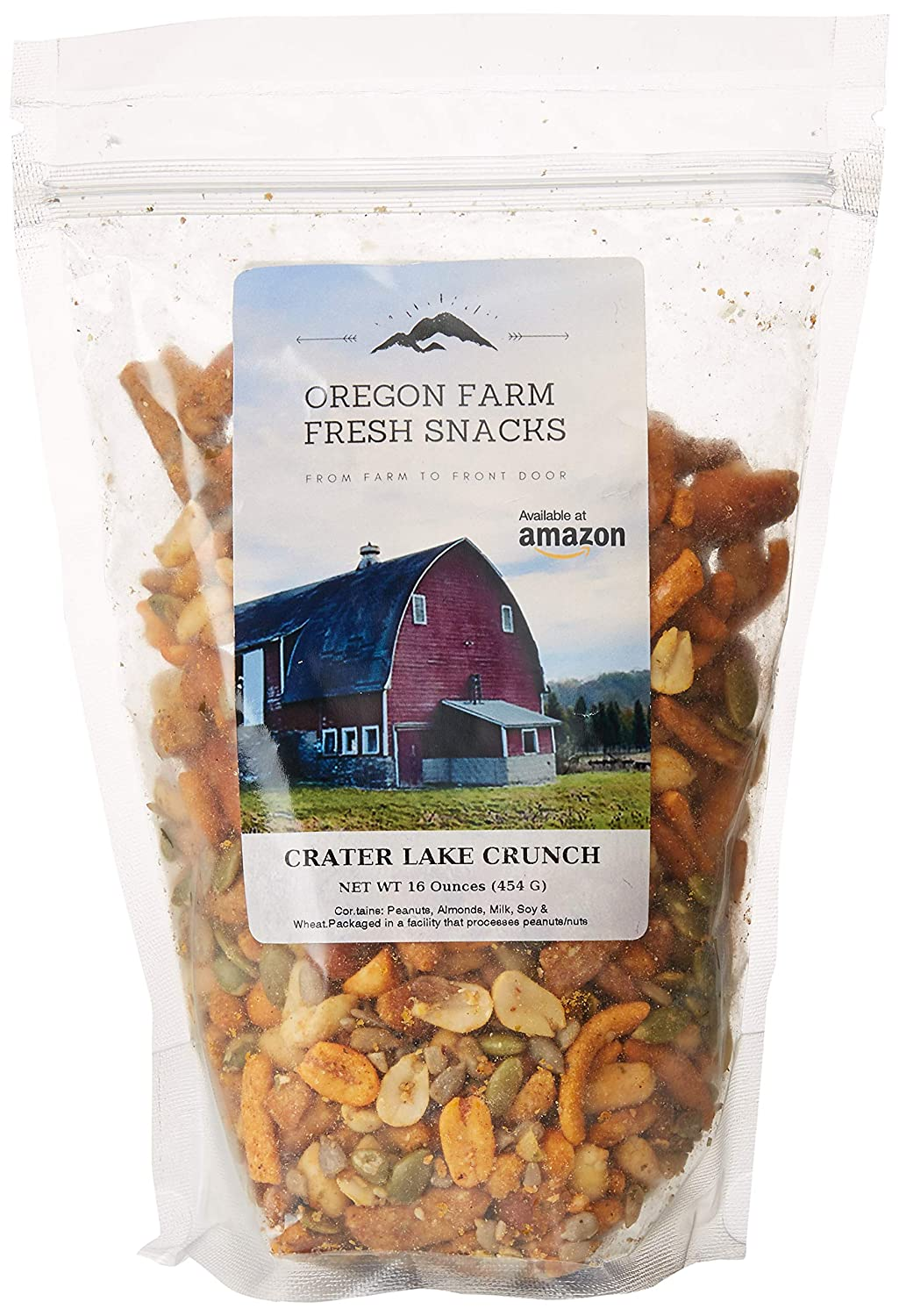 Oregon Farm Fresh Snacks Mix - Crater Lake Crunch - Spicy Pub Mix Gourmet Cheesy Jalapeno Snack Mix - Spicy Party Mix Snacks (16 oz) - Snack Foods Poker Mix In Resealable Bag - Spicy Trail Mix