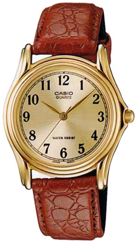 Casio Men s MTP1096Q-9B1 Brown Leather Quartz Watch with Gold Dial