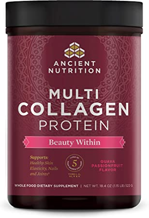Ancient Nutrition Multi Collagen Protein Beauty Within, Guava Passionfruit, Gluten-Free - 45 Servings