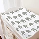 Carousel Designs White and Gray Elephants Changing Pad Cover