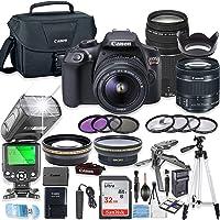 Canon EOS Rebel T6 DSLR Camera w/ EF-S 18-55mm is II Lens & 75-300mm f/4-5.6 III Lens + 32GB Sandisk Memory + Canon Case + TTL Speedlight Flash (Good Upto 180 Feet) + Accessory Bundle