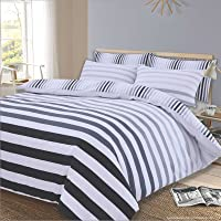 Dreamscene Duvet Cover with Pillow Case Reversible Stripe Bedding Set, Fade Grey Black White - King