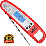 D&M Digital Meat Thermometer – Instant Read & Foldable - Ideal as Internal Meat Thermometer, Grill Thermometer, Cooking or Kitchen Thermometer – Food-safe Sturdy Steel Meat Thermometer Probe, Red