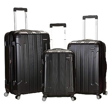 f526abfde Amazon.com   Rockland Luggage 3 Piece Abs Upright Luggage Set, Black,  Medium   Luggage Sets