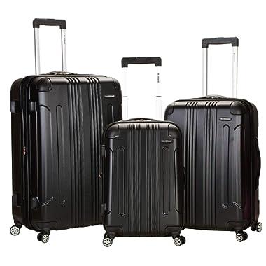 Rockland Luggage 3 Piece Abs Upright Luggage Set, Black, Medium